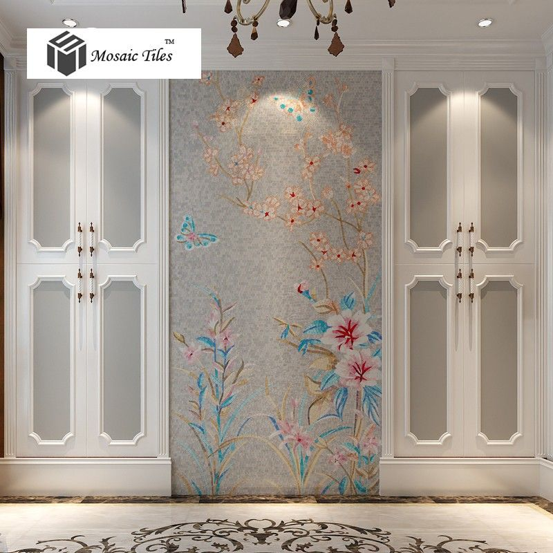 spring nature scenery painting puzzle art mosaic grey background butterfly flower home interior wall design bathroom - Mosaic Tile Home Interior