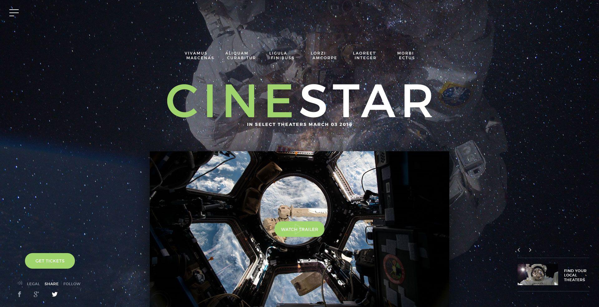 CINESTAR - Film Marketing PSD Template | Film & TV | Psd