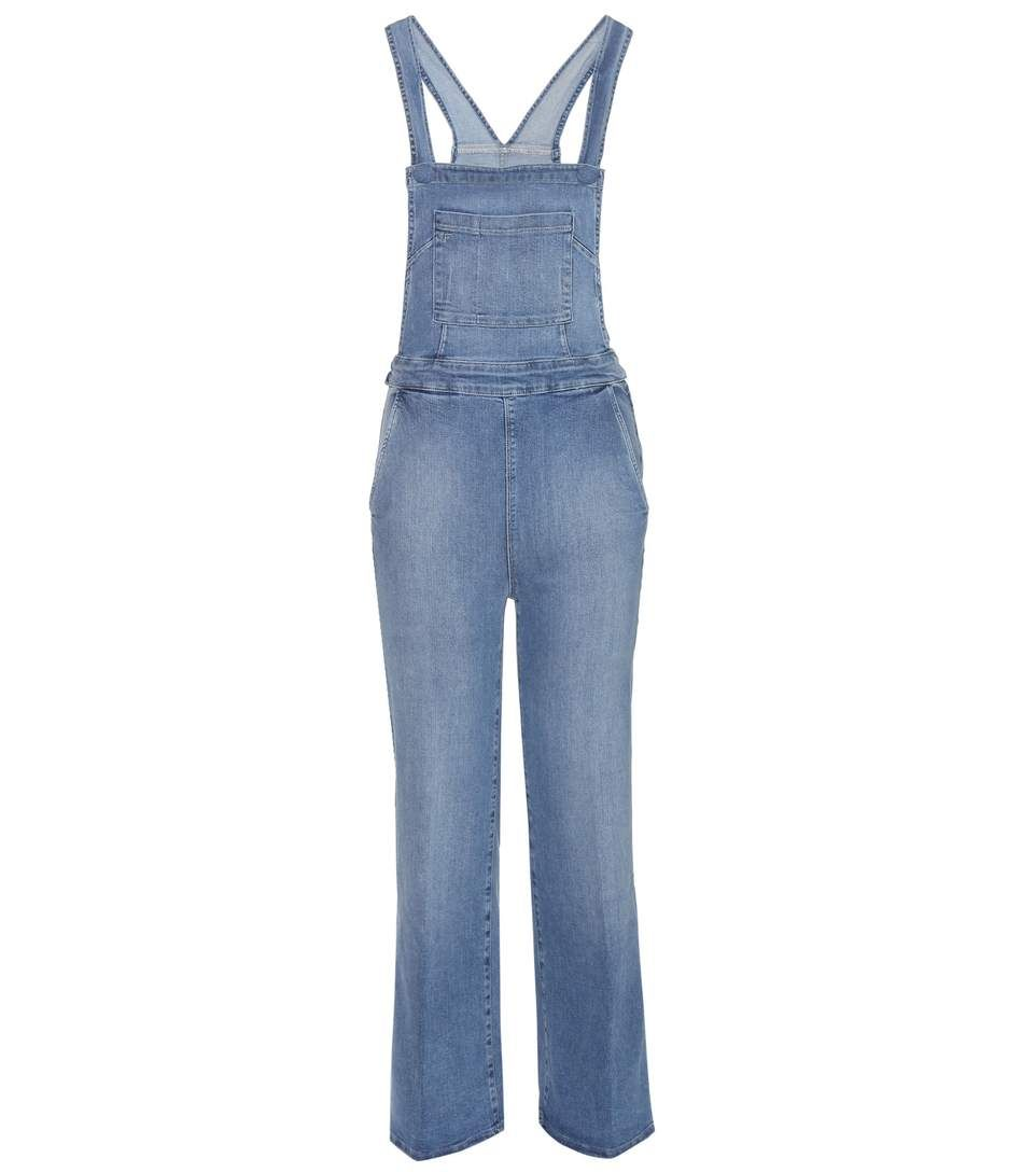 FRAME Le Button flared denim dungarees. #frame #cloth #jumpsuits ...
