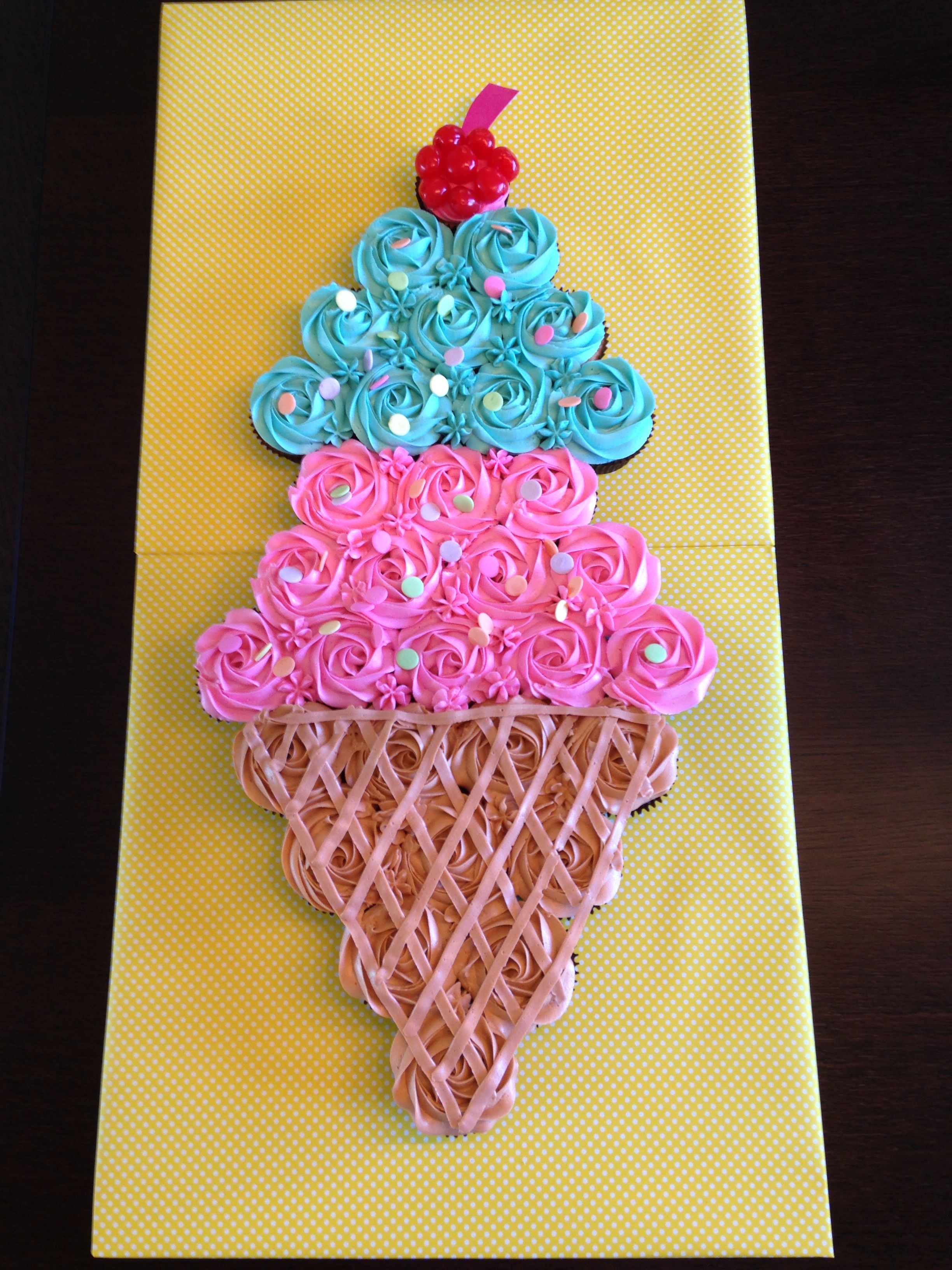 Ice Cream Cone Shaped Cake Made From Cupcakes