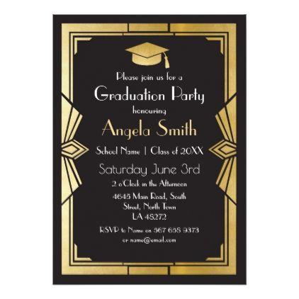 Graduation Party Invite Art Deco Gatsby Gold 1920s Invitations Card Cards Cyo Grad Celebration