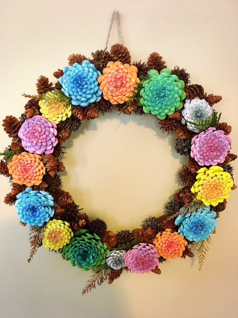 Pine Cone Wreath, Zinnias pine cones wreath, pine cone flower wreath ...