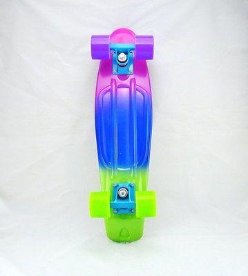 Rainbow Penny Style Skateboards Board Complete 22inch Pastel Fade 3 Color Pbg Penny Board Penny Skateboard Penny
