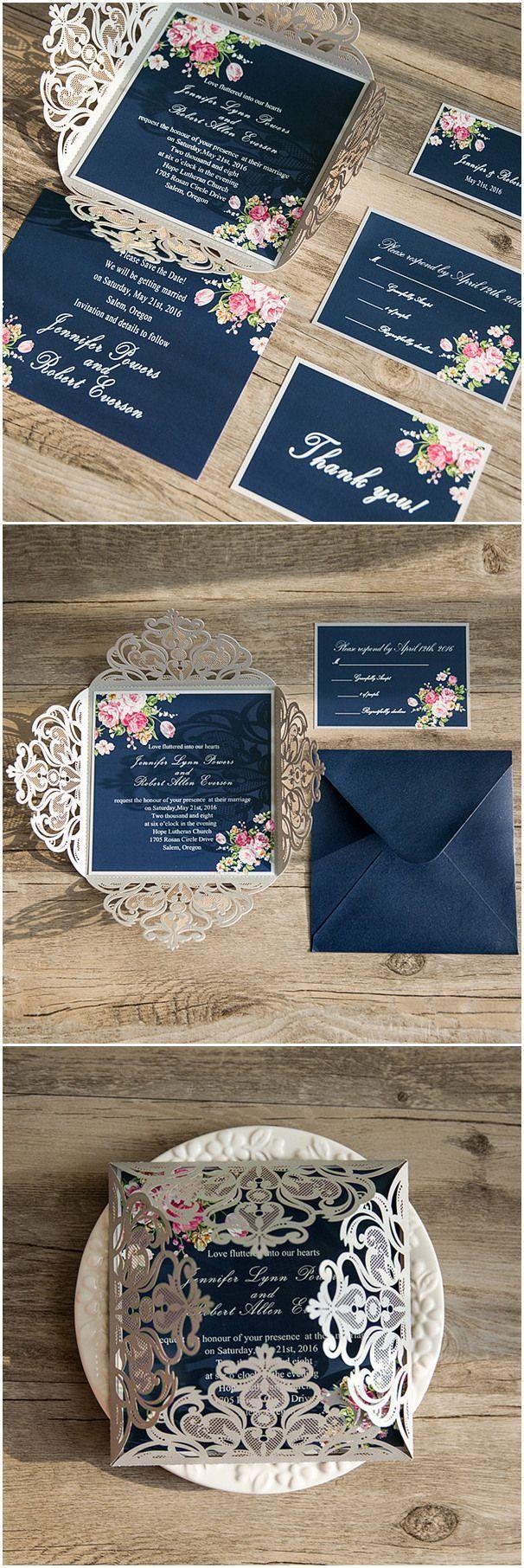 Photo of Invitaciones de corte láser de plata azul marino floral EWWS090