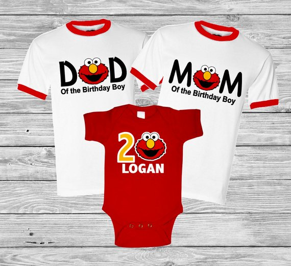 Personalized Elmo Monster Birthday Shirt Family Set 1st 2nd 3rd Raglan Base