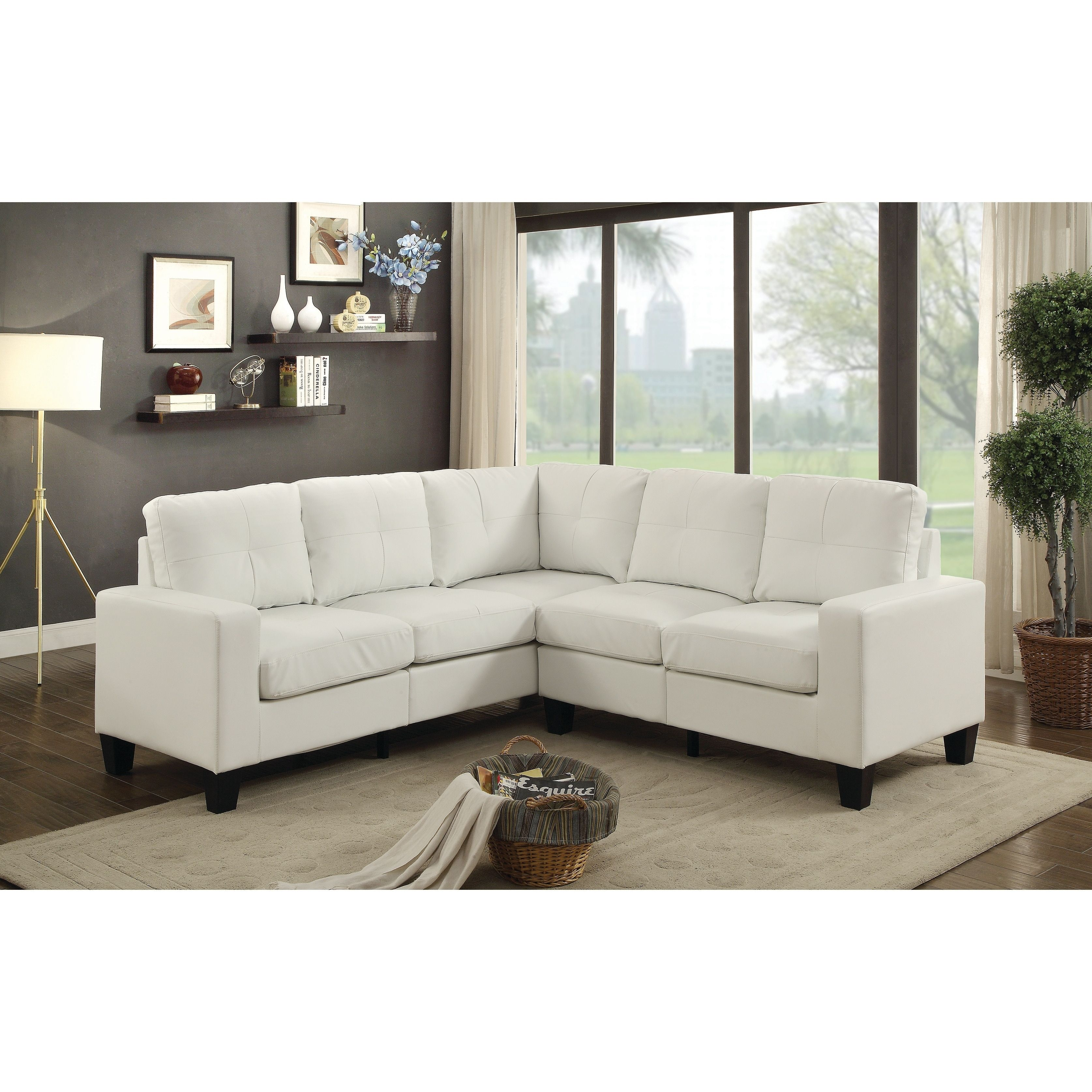 Pleasant Lyke Home Grey Faux Leather Sectional Products In 2019 Gamerscity Chair Design For Home Gamerscityorg