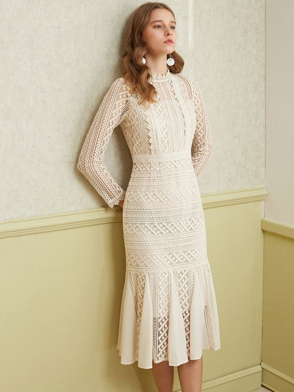 Apricot Sheer Lace Overlay Fishtail Midi Dress