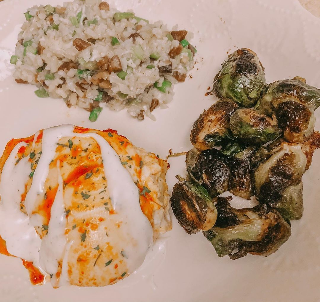 Buffalo stuffed chicken with risotto cauliflower mix and brussel sprouts!! Just the way I like no fuss meal #keto #ketoc... #buffalobrusselsprouts Buffalo stuffed chicken with risotto cauliflower mix and brussel sprouts!! Just the way I like no fuss meal #keto #ketoc... #buffalobrusselsprouts