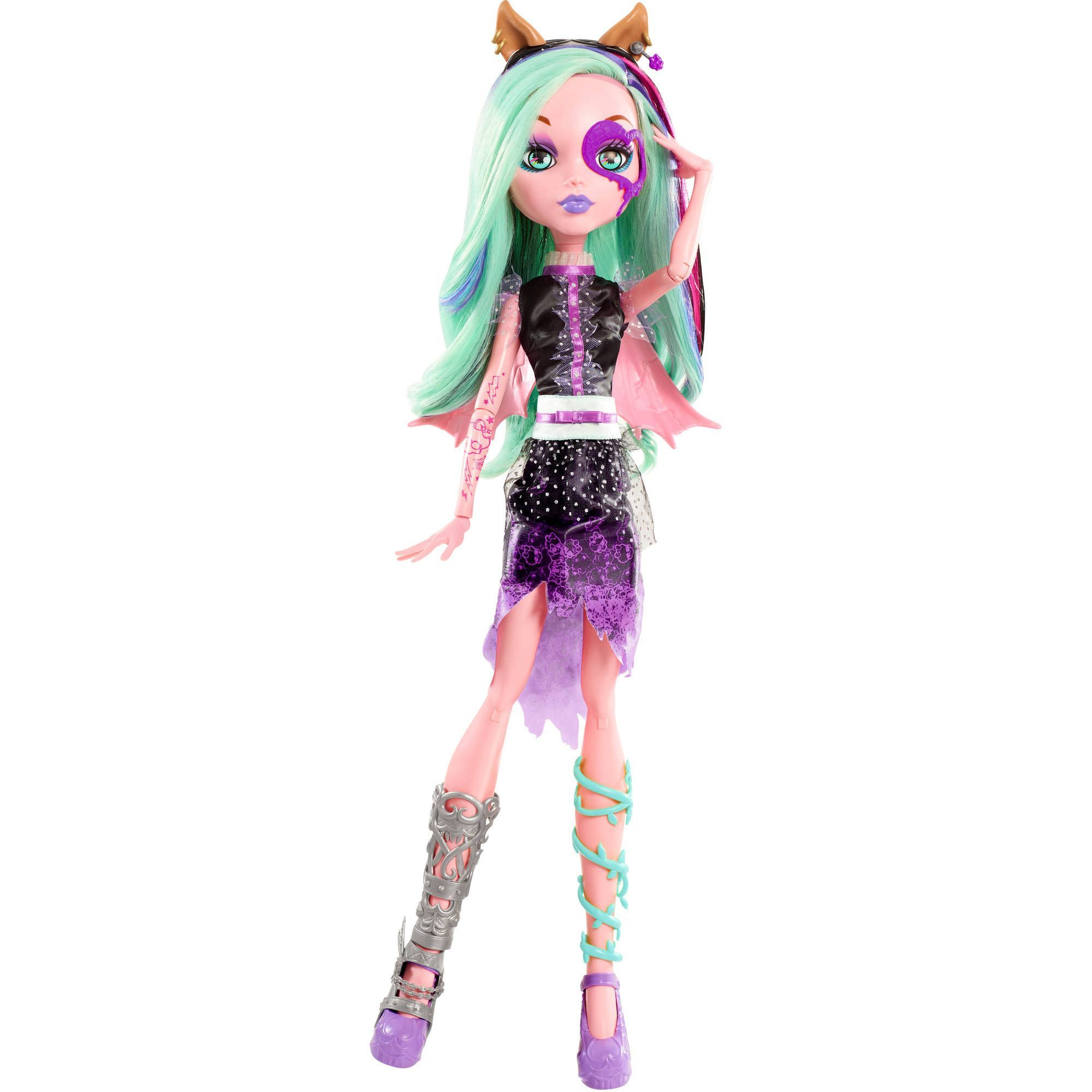 """Enjoy some spooky fun with this Monster High 28"""" Voltageous Ghoul Friend (Exclusive). She's always got her eye on the newest trends, so watch her transform her look and eye color with just a wink. The"""