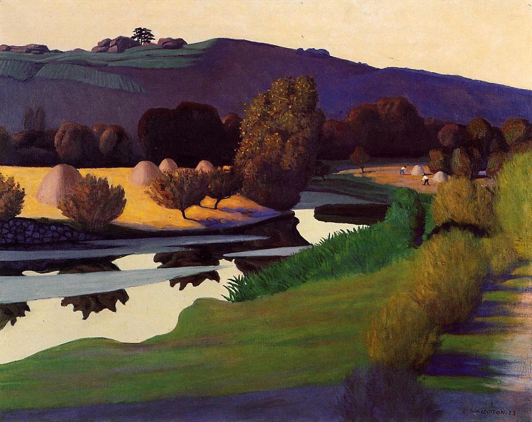 wetreesinart: Félix Vallotton (Suisse, 1865-1925), Evening On The Loire, 1923, OIl on Canvas