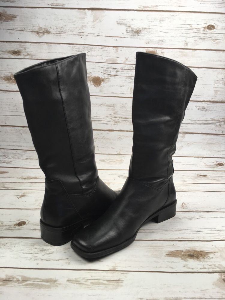1ca11f8f9e1 NATURALIZER Riding Boots Mid Calf Cuffed Black Soft Leather Booties ...