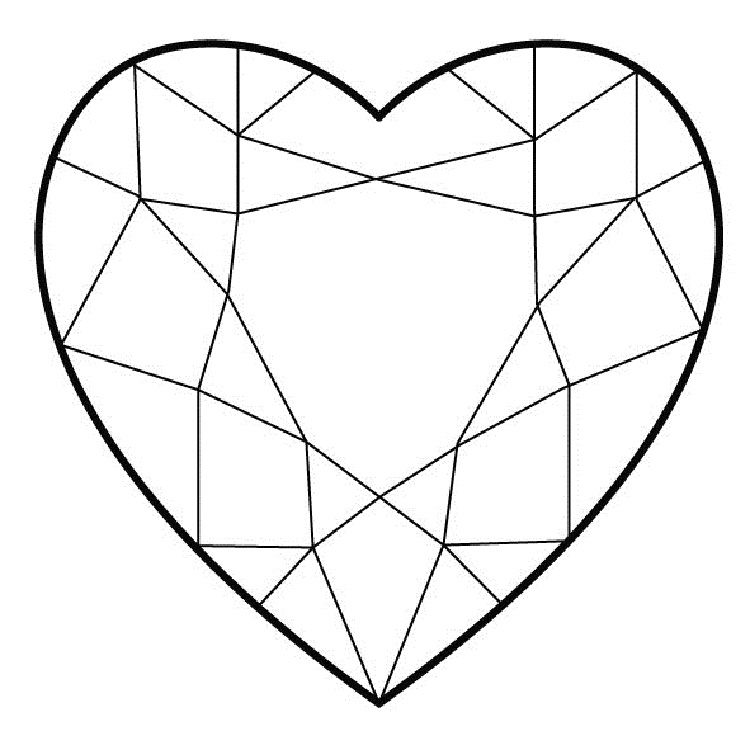 Diamond Hearts Coloring Pages Heart Coloring Pages