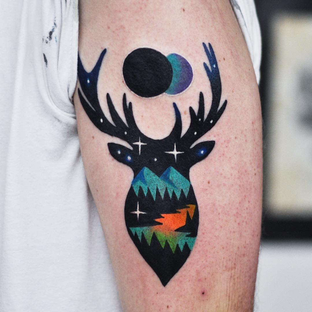 27 Awesome Picturesque Landscape Tattoo Designs: Deer Landscape /w Eclipse Tattoo By David Côté