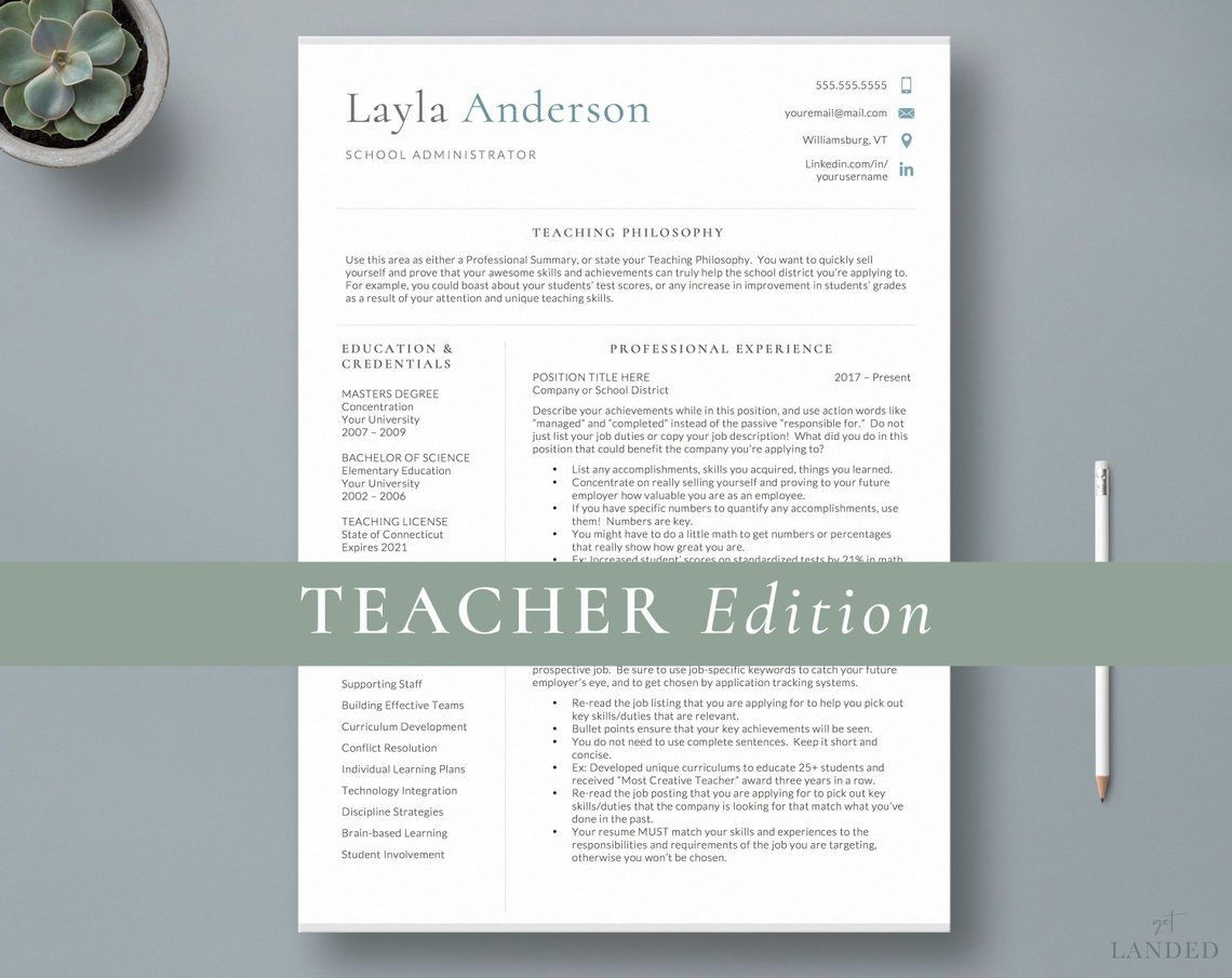 Resume Template for Educators, Teacher Resume Template, 2
