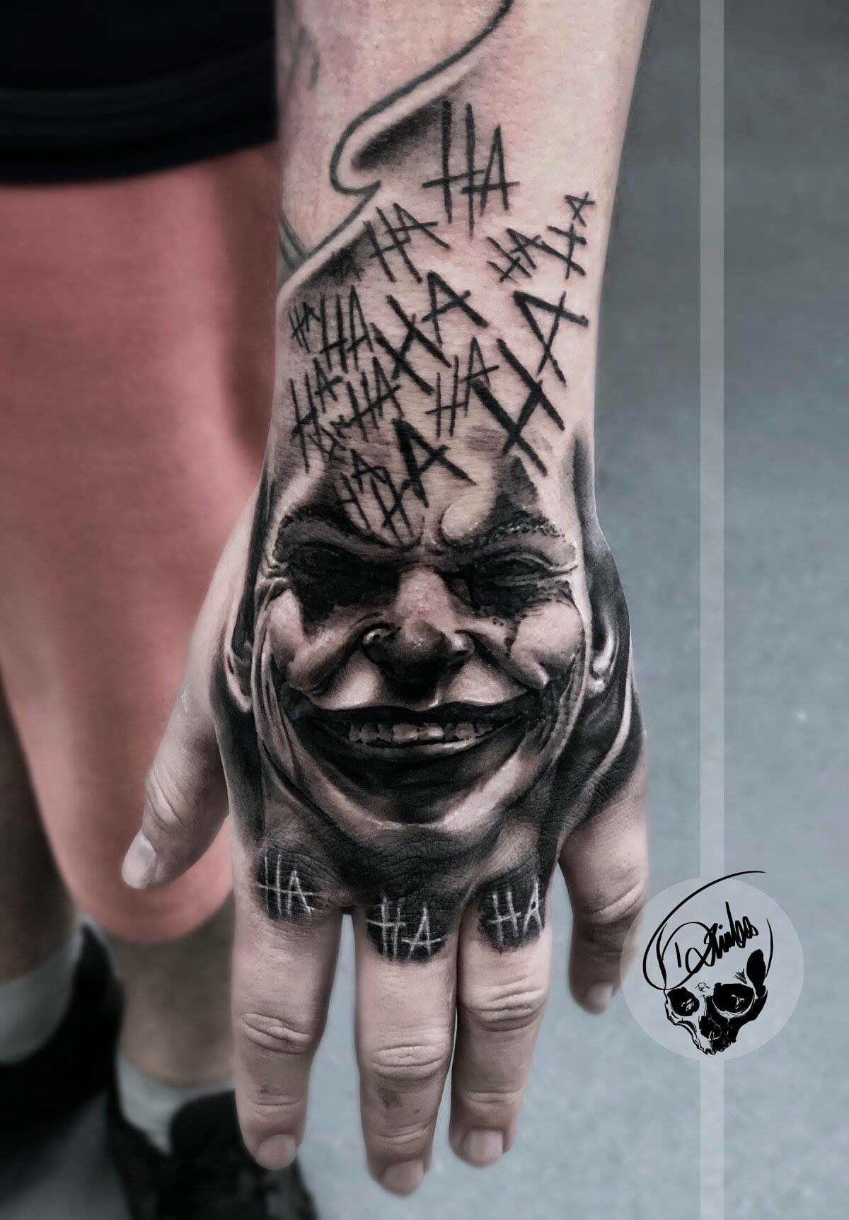 Pin By Anthony G On Tattoos Hand Tattoos Hand Tattoos For Guys Joker Tattoo