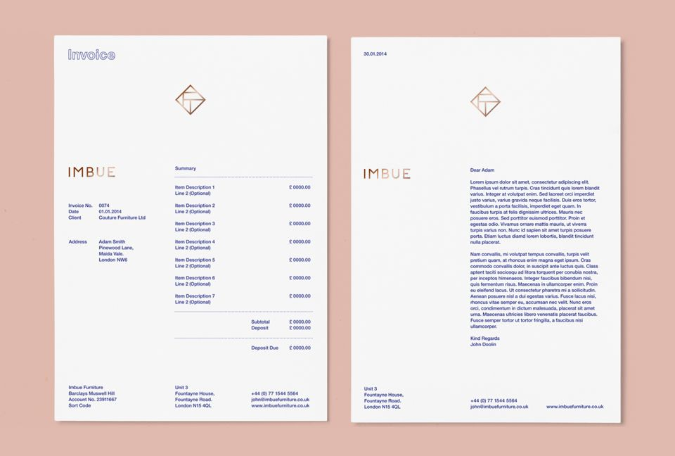 Imbue / Duane Dalton Invoice design, Letterhead and Editorial - graphic design invoice sample