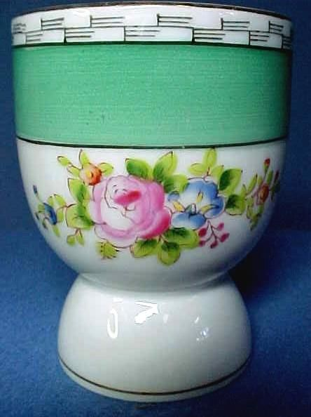 Vintage Noritake China Double Egg Cup with Hand Painted Roses
