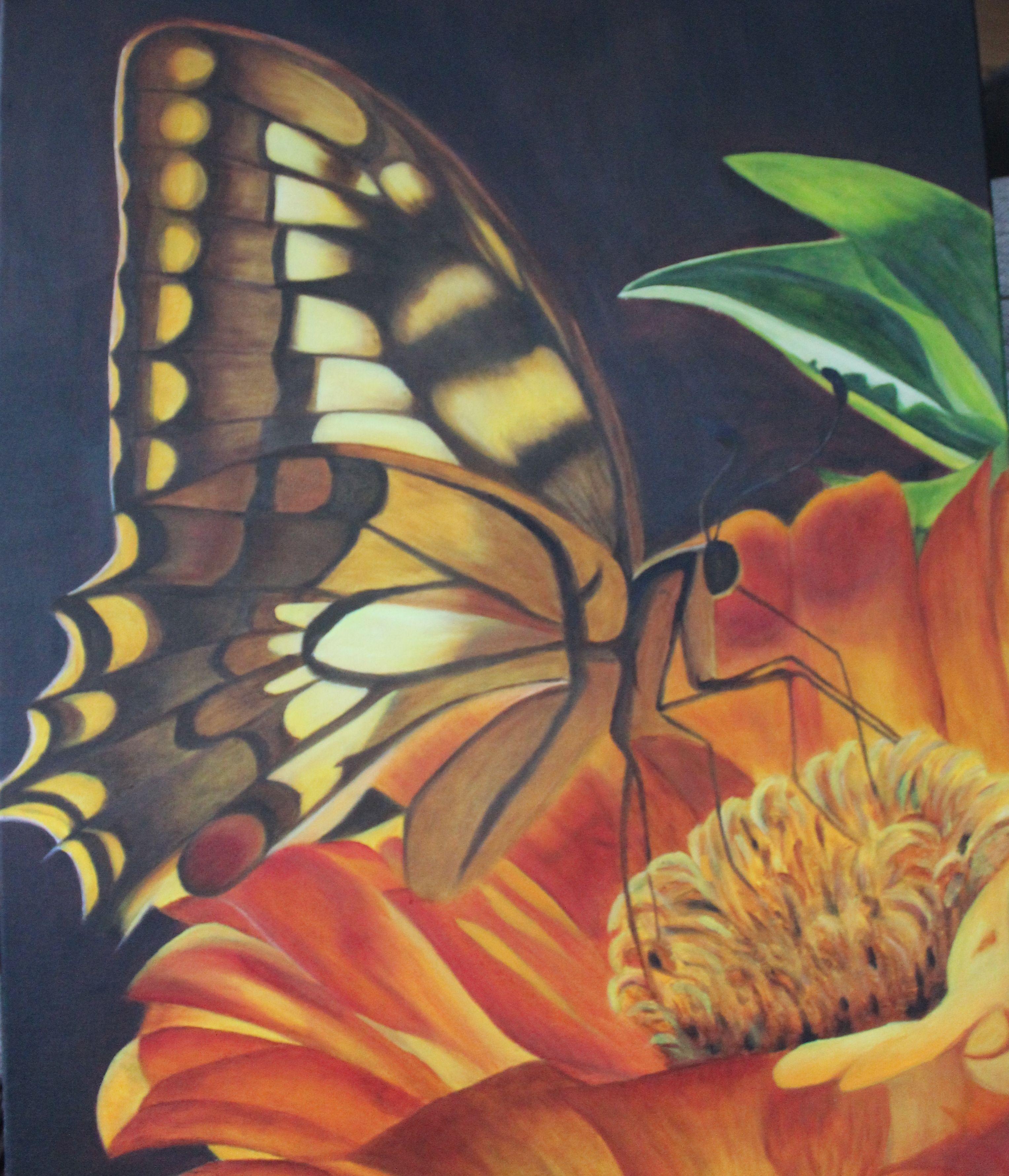 Vlinder op gele bloem. Gemaakt in olie,  Afm. 50 x 60 cm