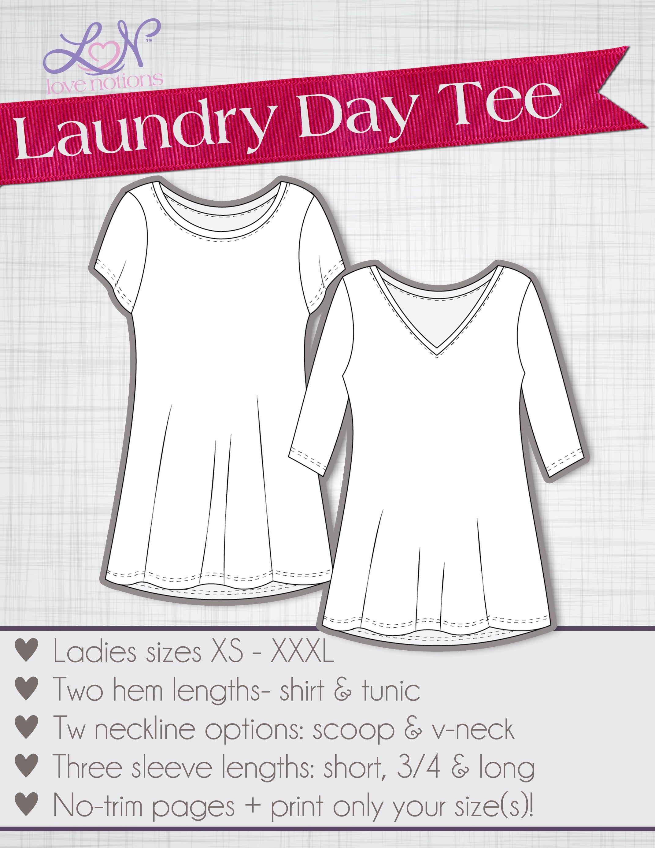 Love Notions Laundry Day Tee XS-XXXL | Costura facil y Costura
