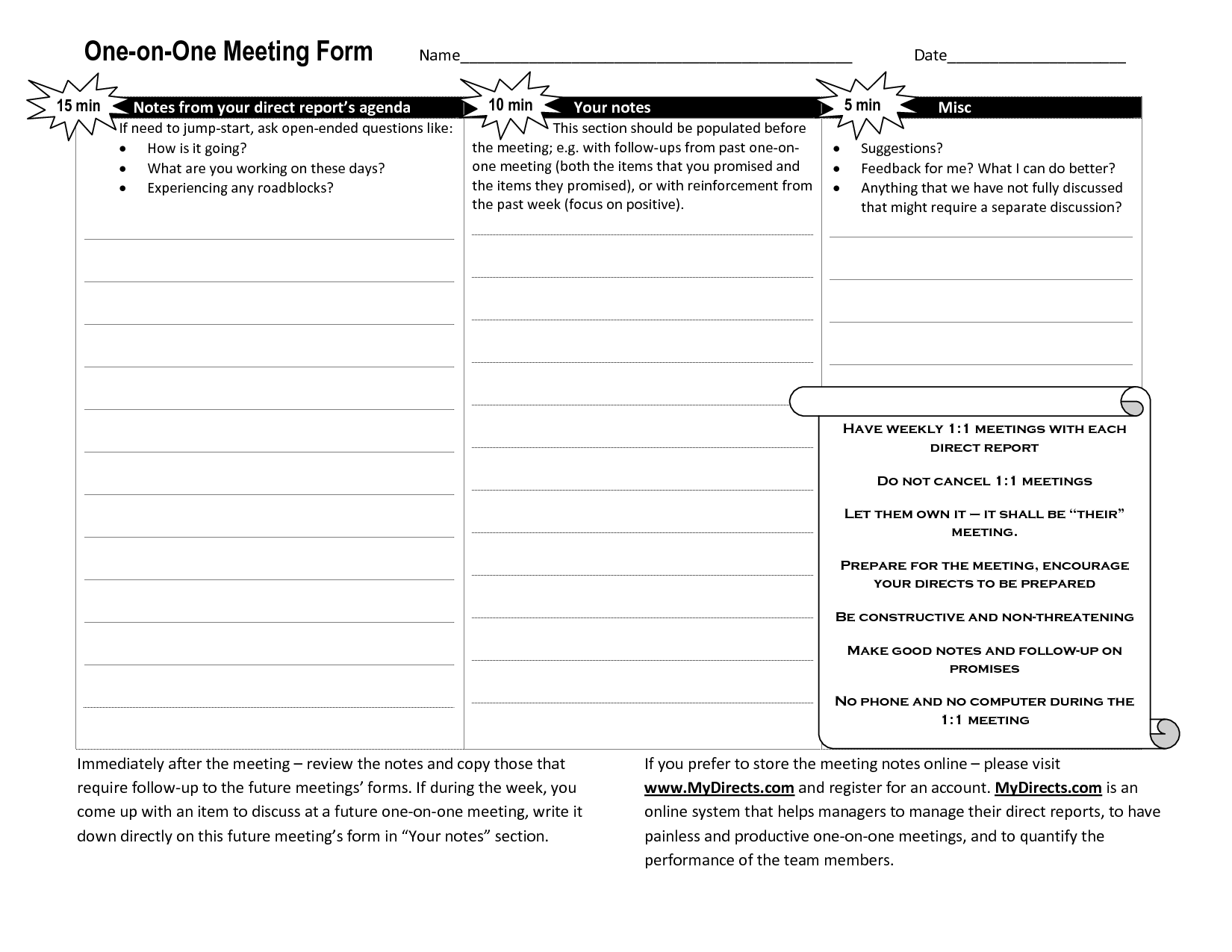 One On One Meeting Agenda Template Business Management