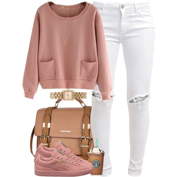 Pink Sweater, White Distressed Jeans, Pink Pumas, Gold Watch ...