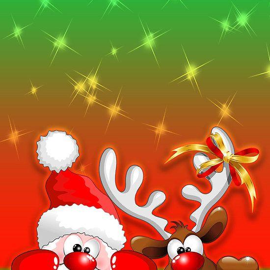 Funny Christmas Santa and Reindeer Cartoon Santa ideas Pinterest