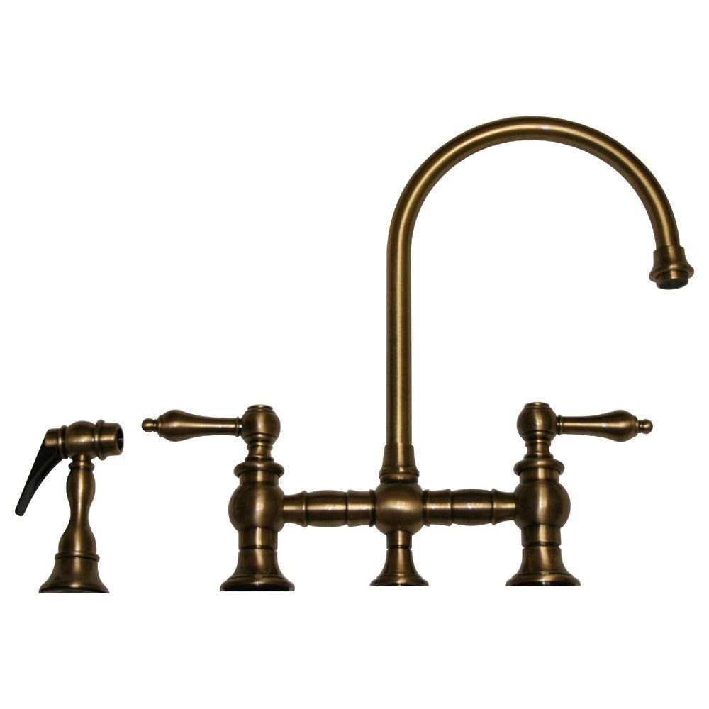 Whitehaus vintage iii bridge style kitchen sink faucet with side spray lever handles