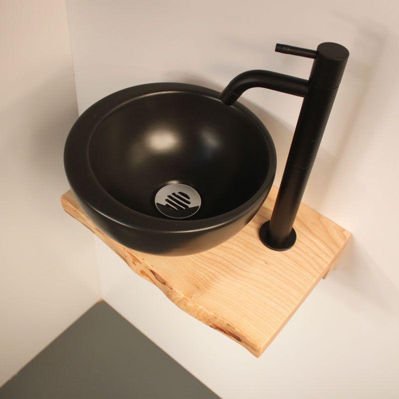 lave mains design noir et bois lave