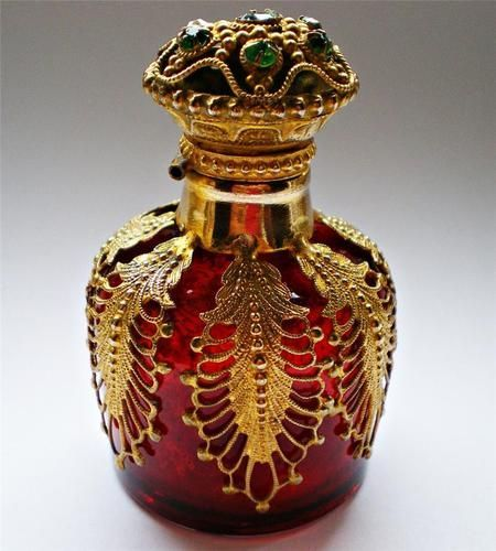Royale Ruby Glass Jewelled Gilt Brass Caged Scent Perfume Bottle