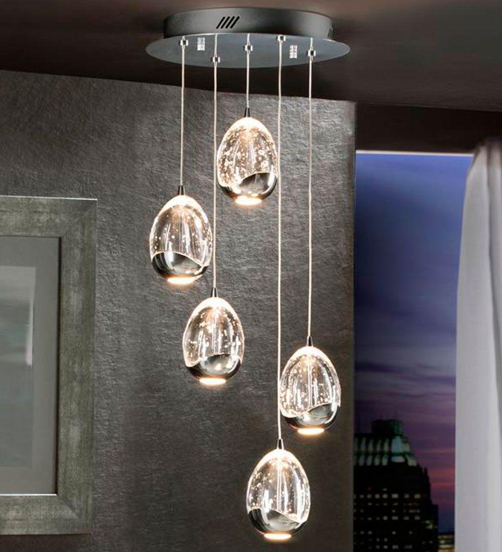 Lampara Colgante Moderna 5 Bolas Led En Cromo Iluminacion De Comedor Lamparas Para Sala Lamparas Colgantes