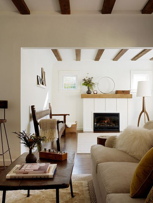 Best White Dove Benjamin Moore Against Wood Beams Interior 400 x 300
