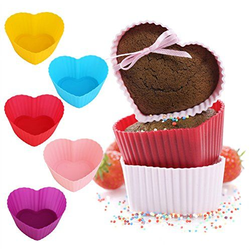 GreKitchen Baking cupsSilicone Baking Cups muffin baking cupCupcake liners Reusable and Nonstick Heat ResisitantRainbow Bright Standard 12pack HeartShaped baking set *** This is an Amazon Affiliate link. Read more reviews of the product by visiting the link on the image.