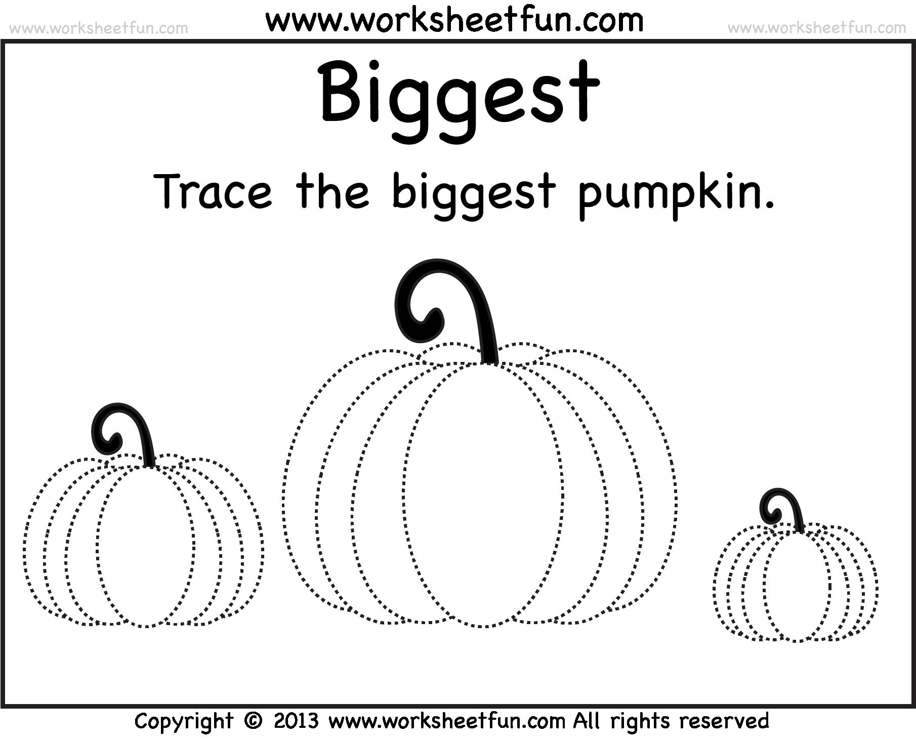 Worksheet Pumpkin Worksheets pumpkin worksheet big bigger biggest printable