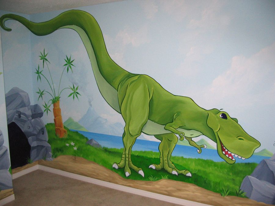 Construction Murals For Kids Rooms | Dinosaur Themes « Mural Magic