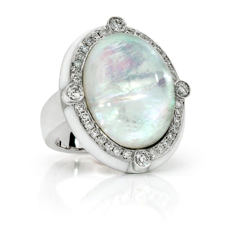 Ivanka Trump - R0336 - Bubble Ring with Rock Crystal, Mother-of-Pearl and Diamonds in 18kt White Gold