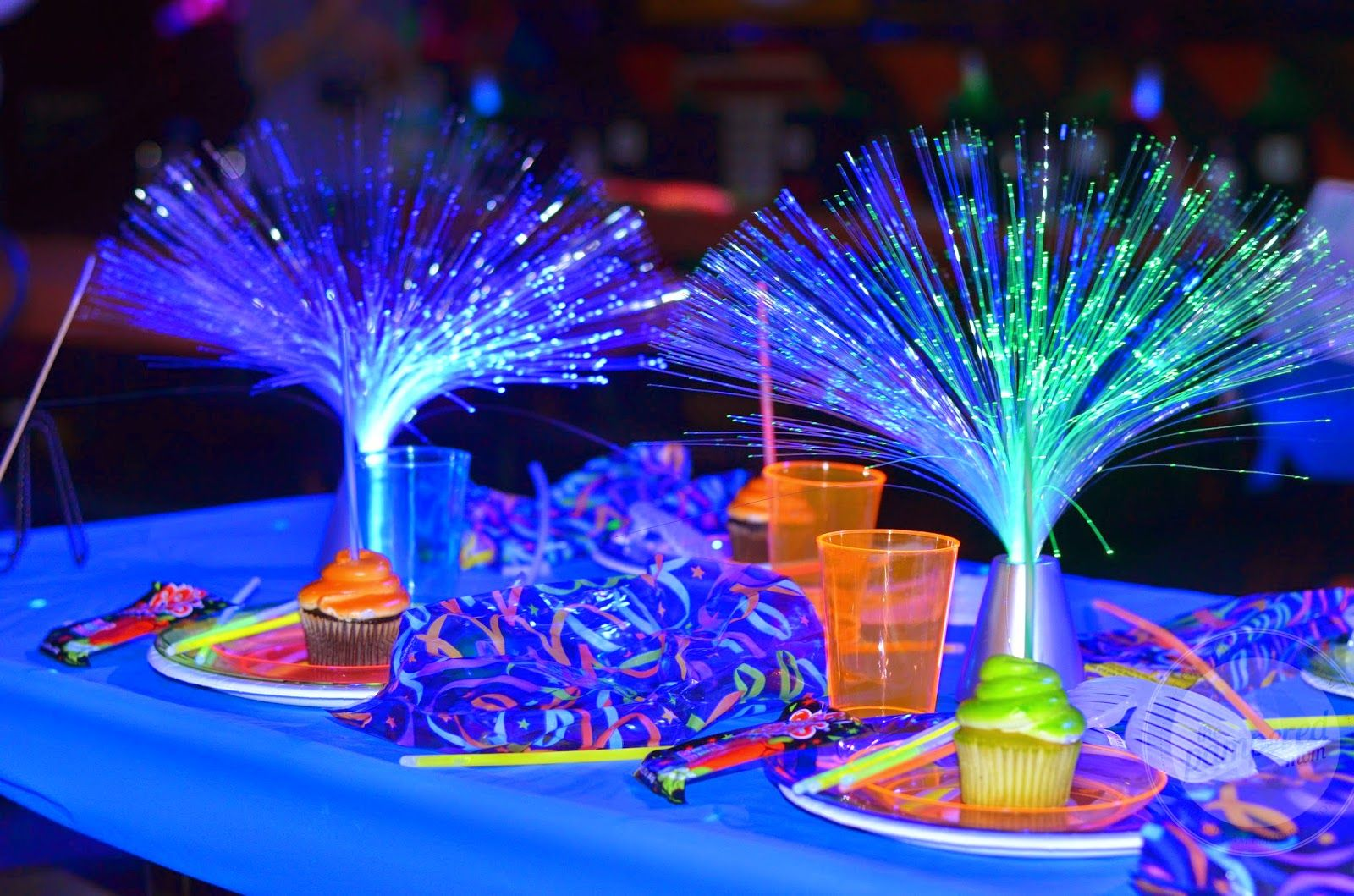 Fiber Optic Lamps with Crystal Base Neon party, Neon