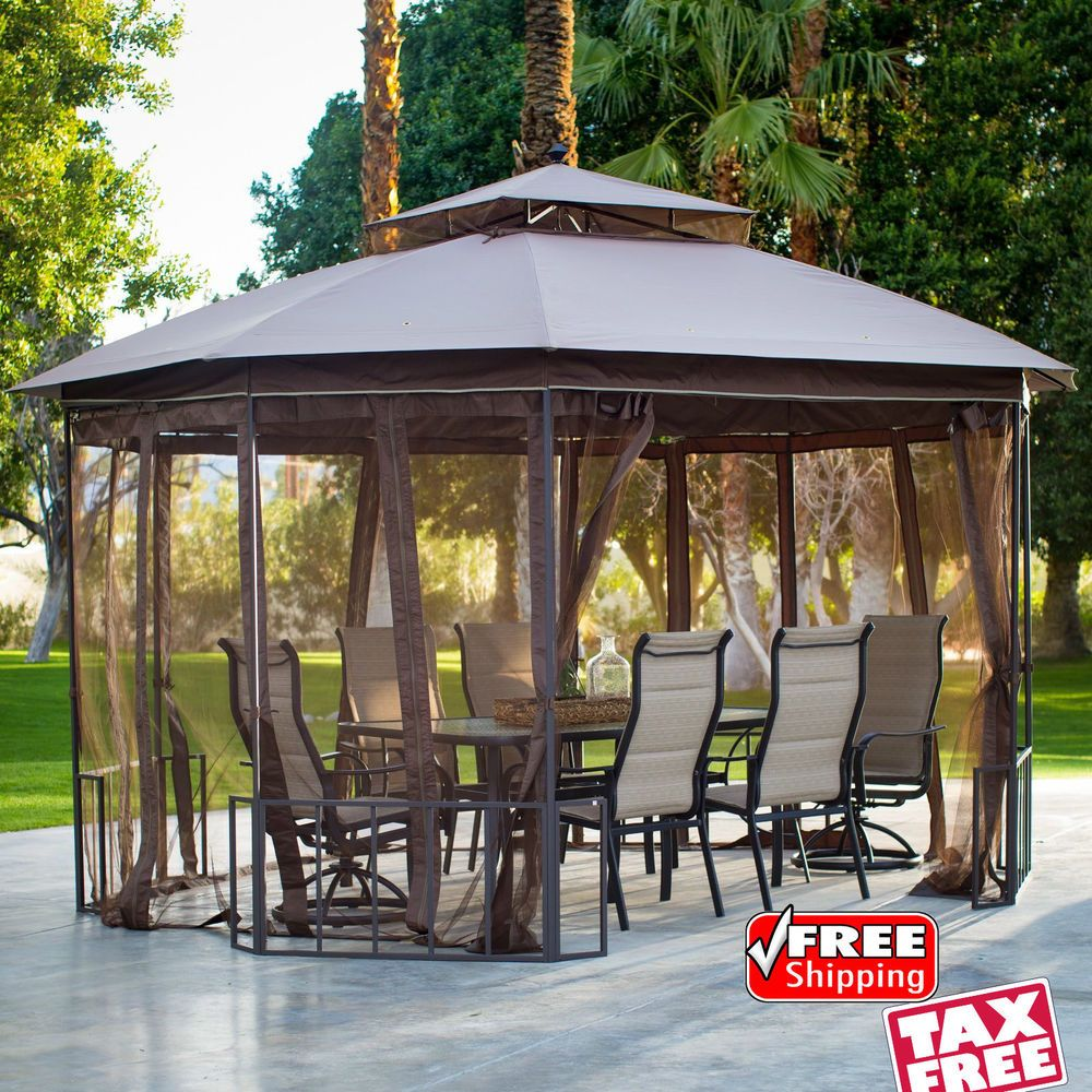 Outdoor Octagon Gazebo with Curtains Patio Vented Canopy Tent Yard Shade Shelter #OutdoorOctagonGazebowithCurtainsBLL & Outdoor Octagon Gazebo with Curtains Patio Vented Canopy Tent Yard ...