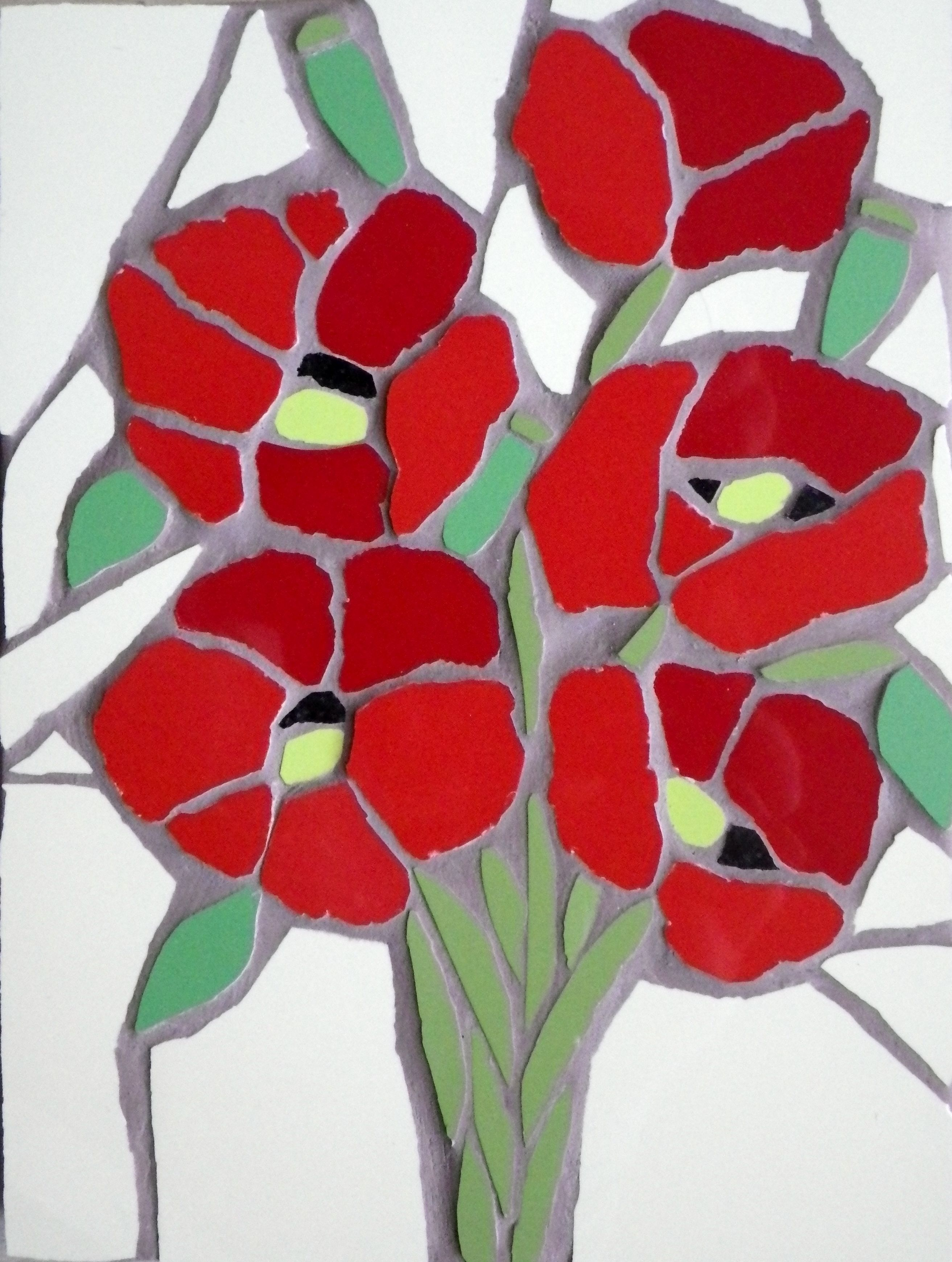 A mosaic bunch of poppies. £34 Available to order at www.justmosaics.co.uk