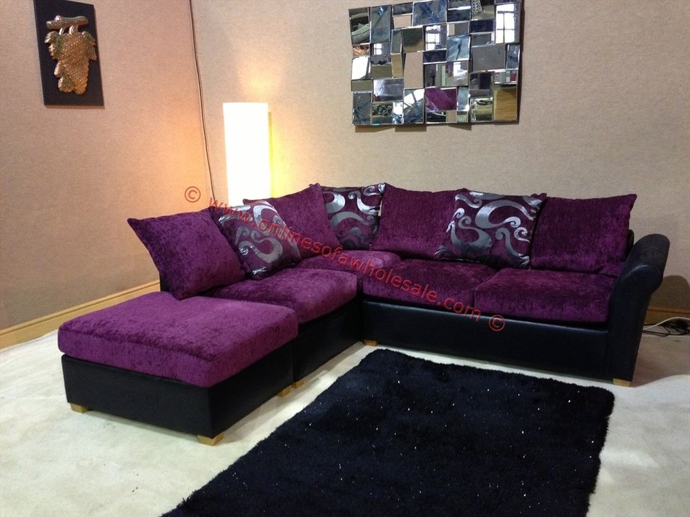 Oscar Purple And Black Corner Sofa With Floral Pattern And Stool