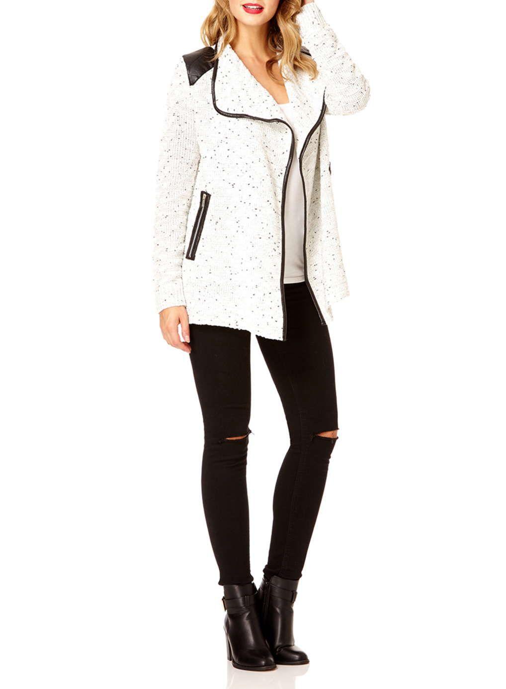 Quiz Cream PU Waterfall Cardigan - Knitwear - Clothing   Knitwear ...