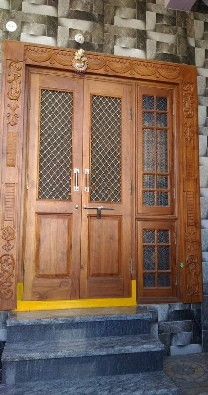 Bavas Wood Works Pooja Room Door Frame And Door Designs: 42 Ideas Wooden Door With Glass Window #door