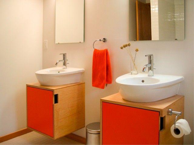 Cube Plywood Dual Bathroom Sink Vanities With Bright Poppy