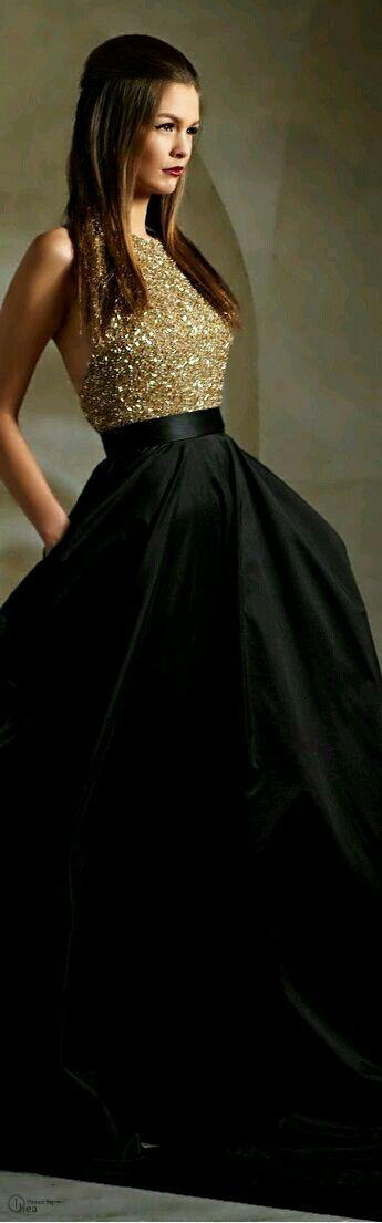 Vestidos de fiesta dorados con negro