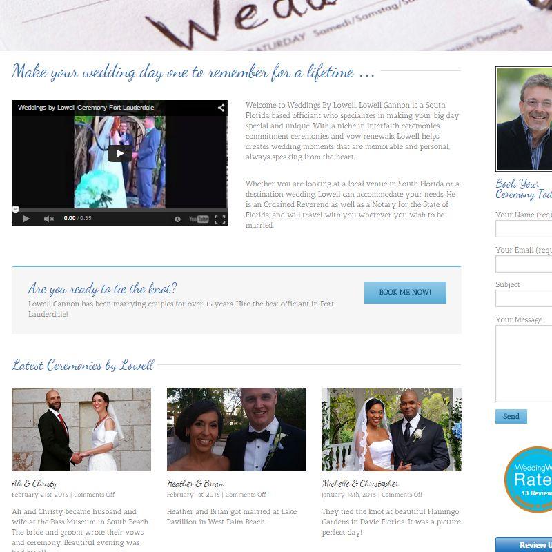 Wedding Officiant Website Design Fort Lauderdale Florida Gordo Web Design Wedding Officiant Wordpress Website Design Website Design