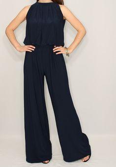 Jumpsuit Navy Blue Halter Top Wide Leg Pants Bohemian Clothing
