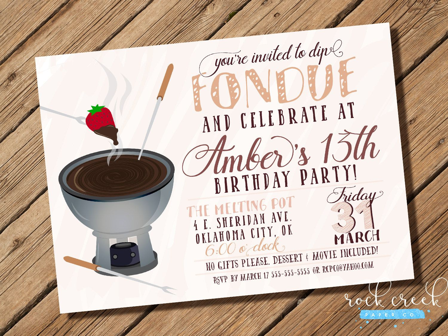 Fondue Invitation, Fondue Party, Fondue Birthday Party, Fondue ...