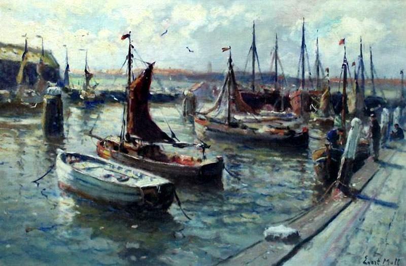 Evert Moll (1878-1955) Vissershaven. (Coll. Muzee, Scheveningen)