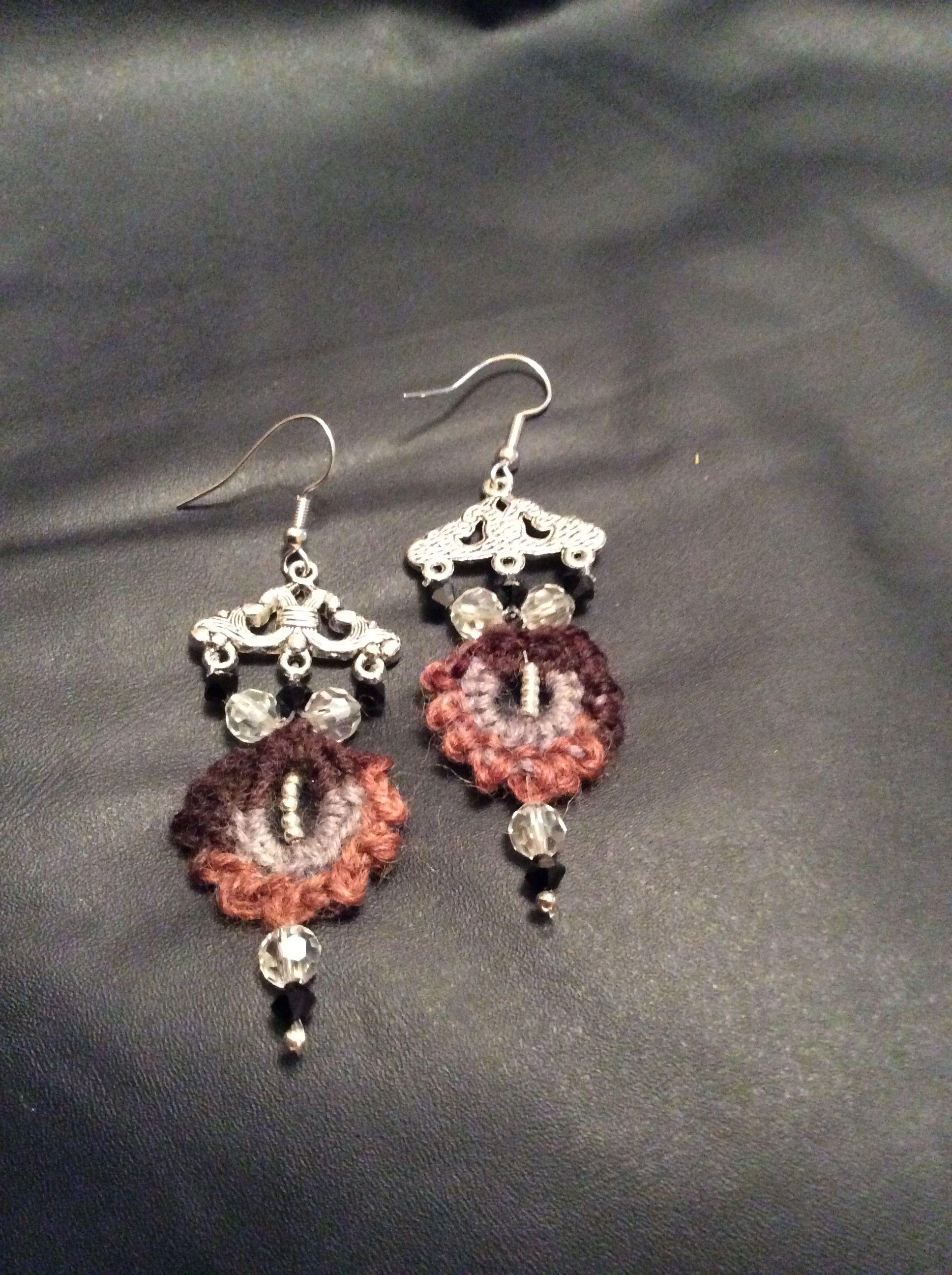 Emma's earrings. Crochet and Swarovski crystals.