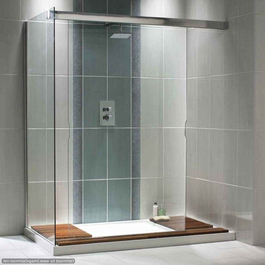 Gray Bathroom Idea With Modern Walk In Shower Design