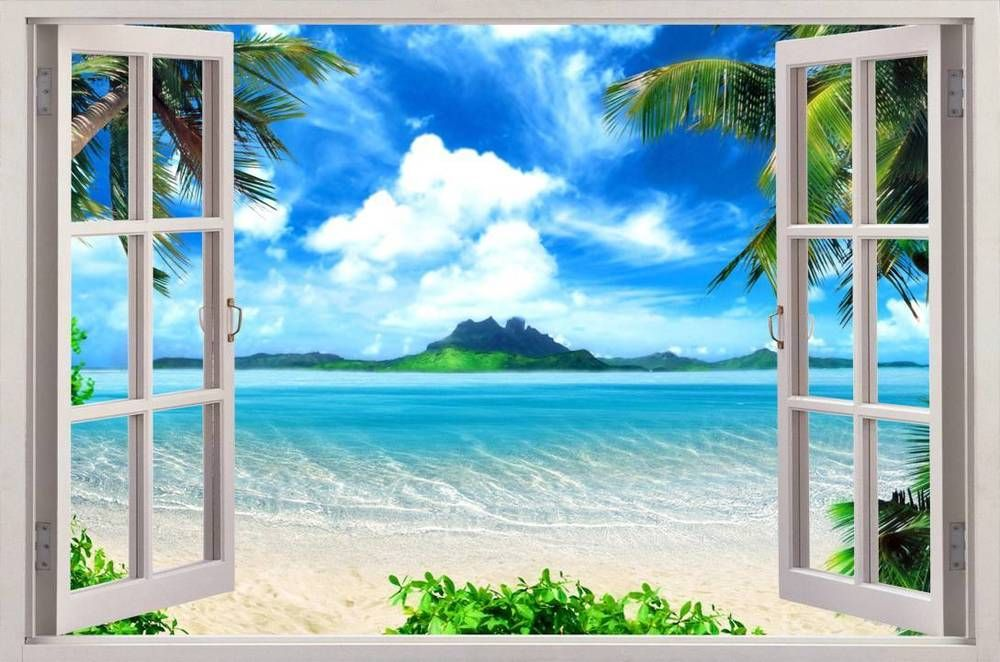 Exotic Beach View 3D Window Decal WALL STICKER Home Decor Art